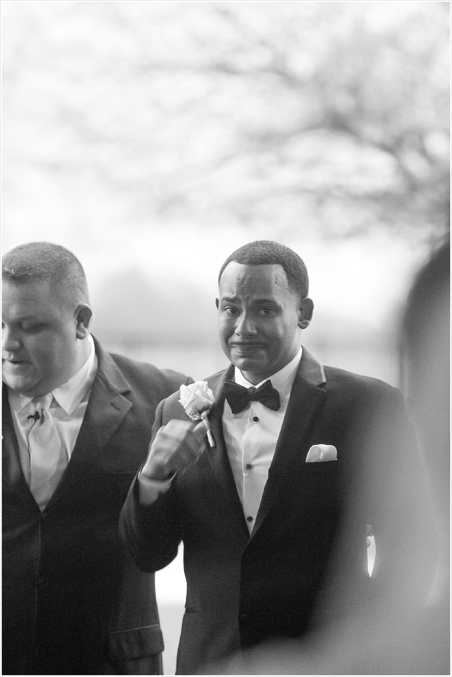 Groom emotional seeing his bride walk down the aisle at La Rio Mansion