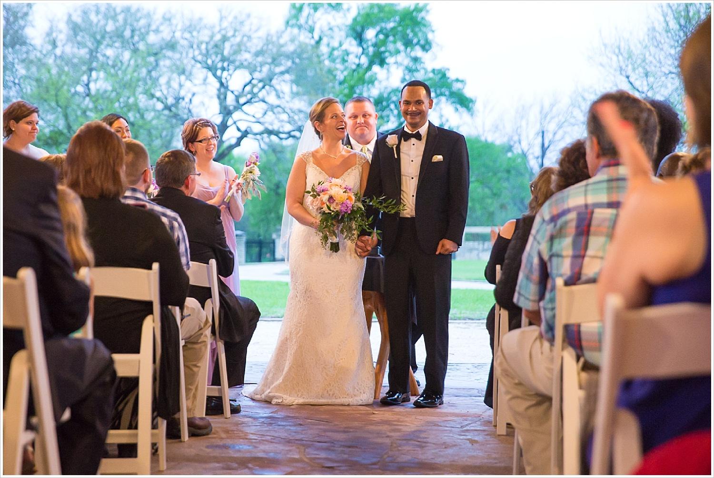 Presentation of the bride and groom at wedding ceremony at La Rio Mansion
