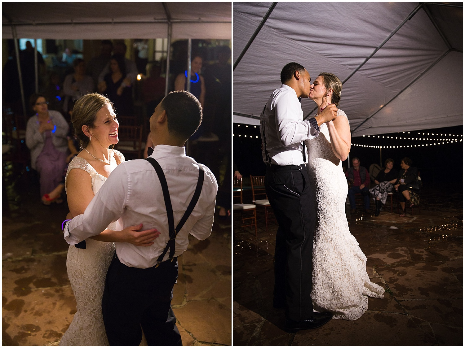 Bride and groom laugh and kiss during their first dance