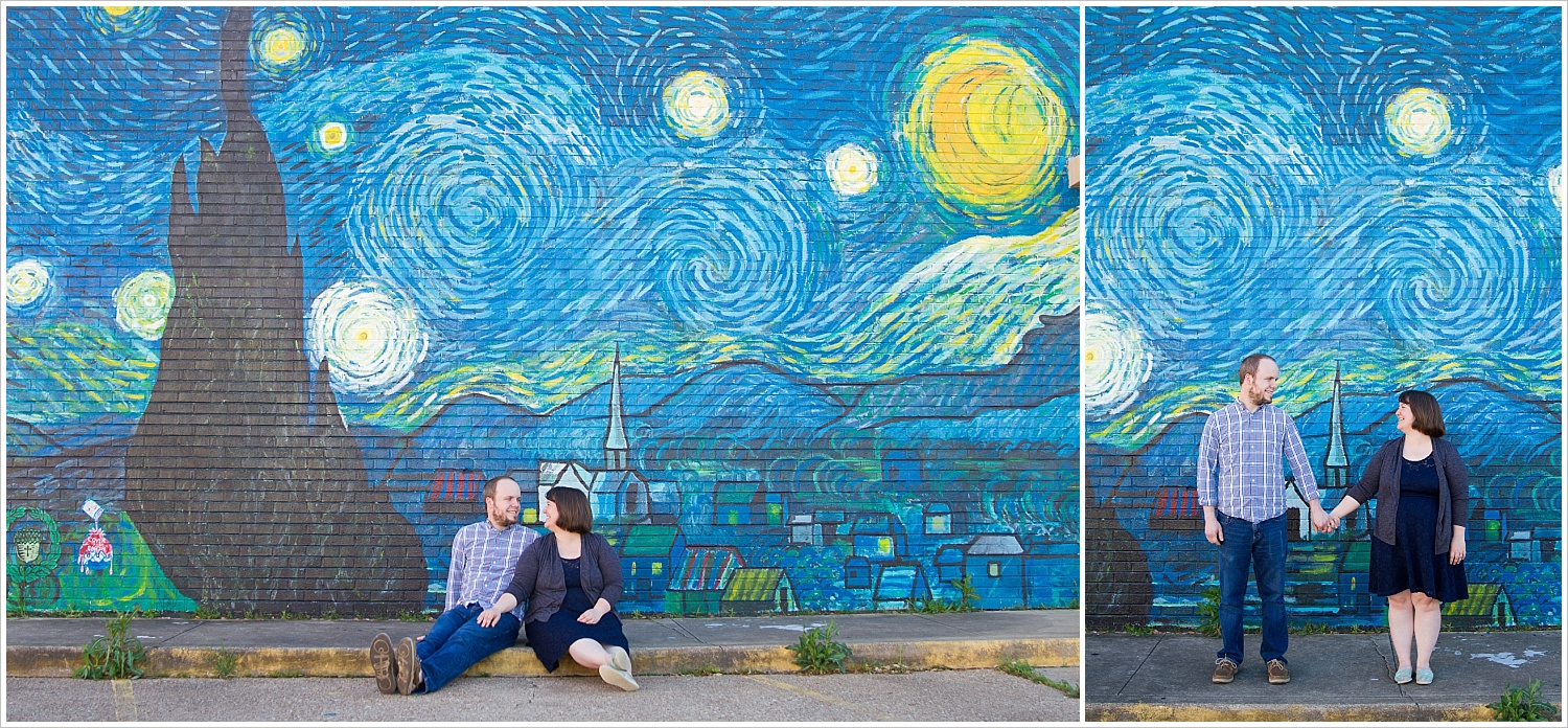 Husband and wife pose in front of Starry Night mural in downtown Waco