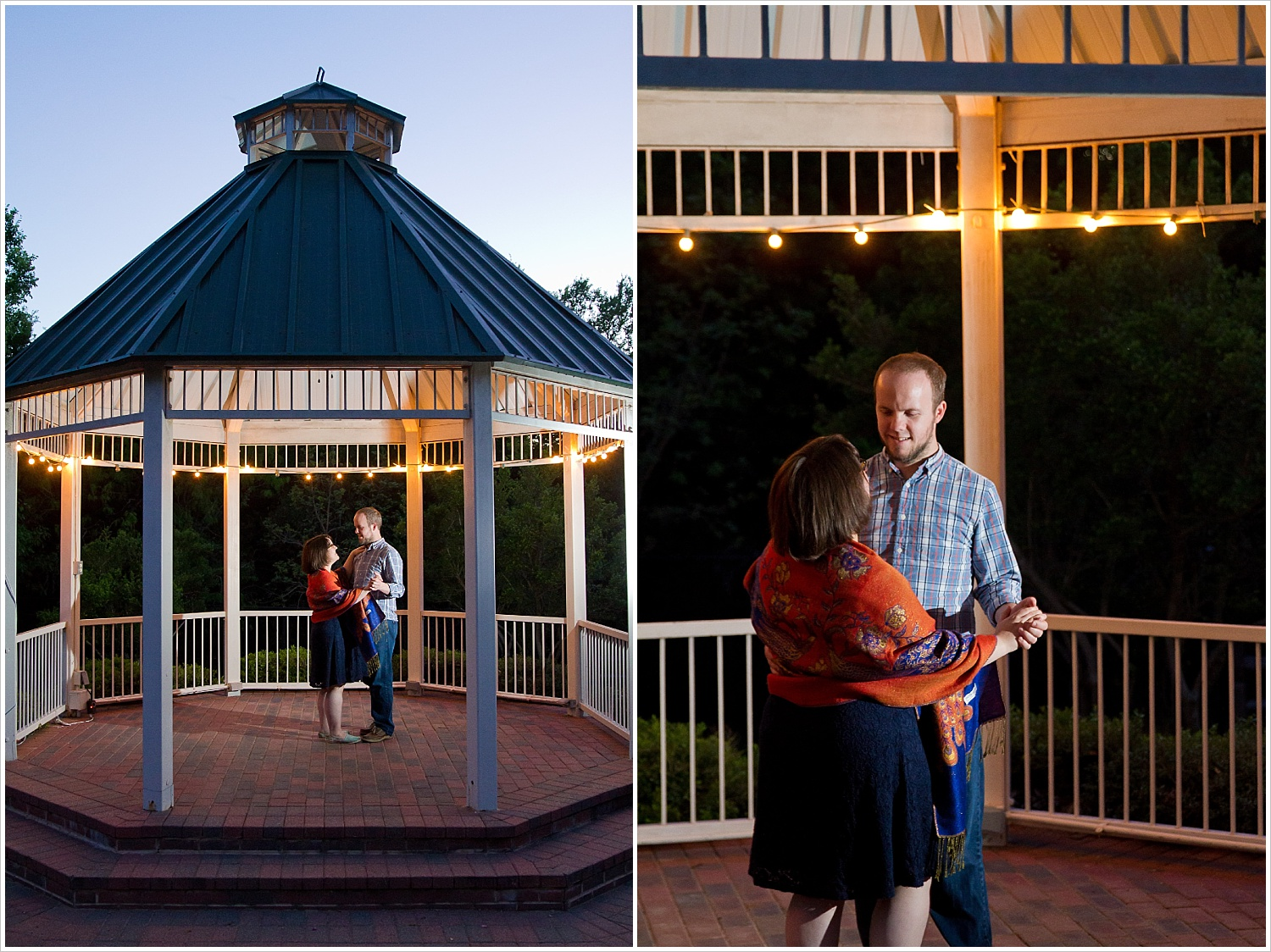 Couple dances in the gazebo at Carleen Bright Arboretum in Woodway, Texas