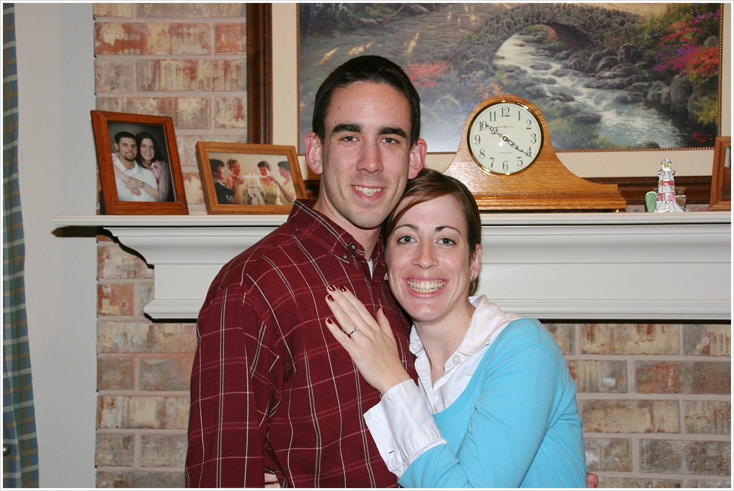 Obligatory pic taken by my mom in front of her fireplace the night we got engaged.