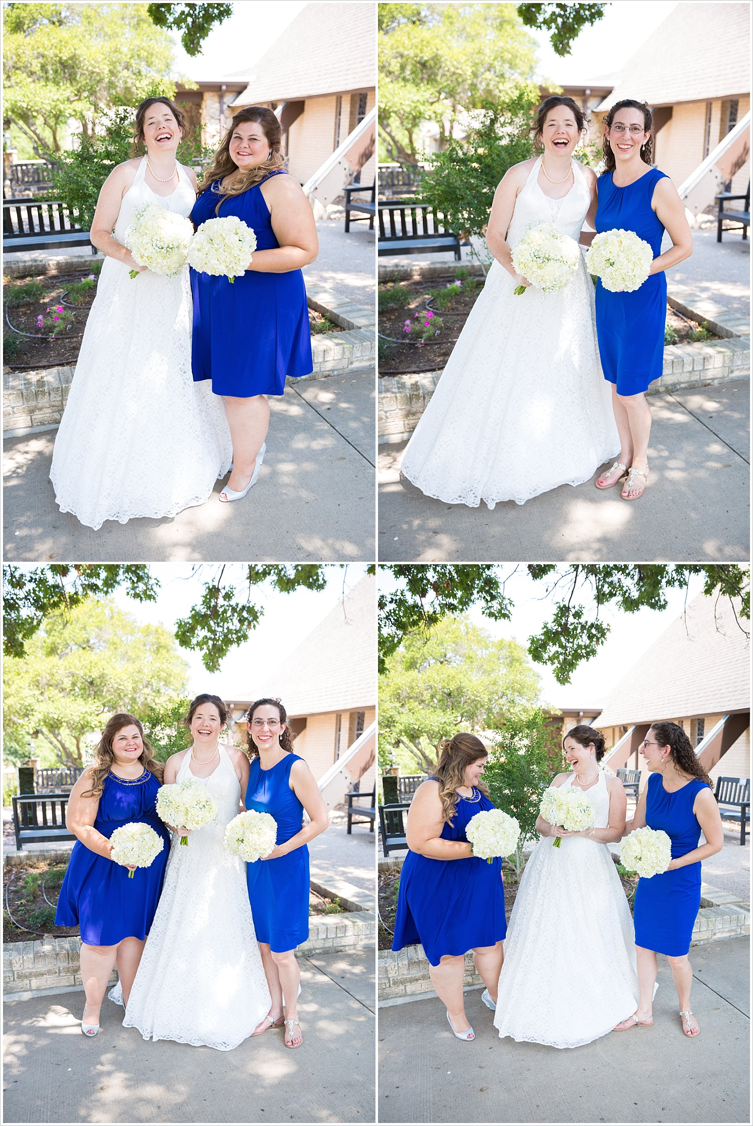 Bride in lace wedding gown poses with her bridesmaids in sapphire blue dress outside Bride and groom in wedding ceremony in front of gorgeous stained glass backdrop at Central Presbyterian Church in Waco/Woodway, TX - Jason & Melaina Photography, www.jasonandmelaina.com