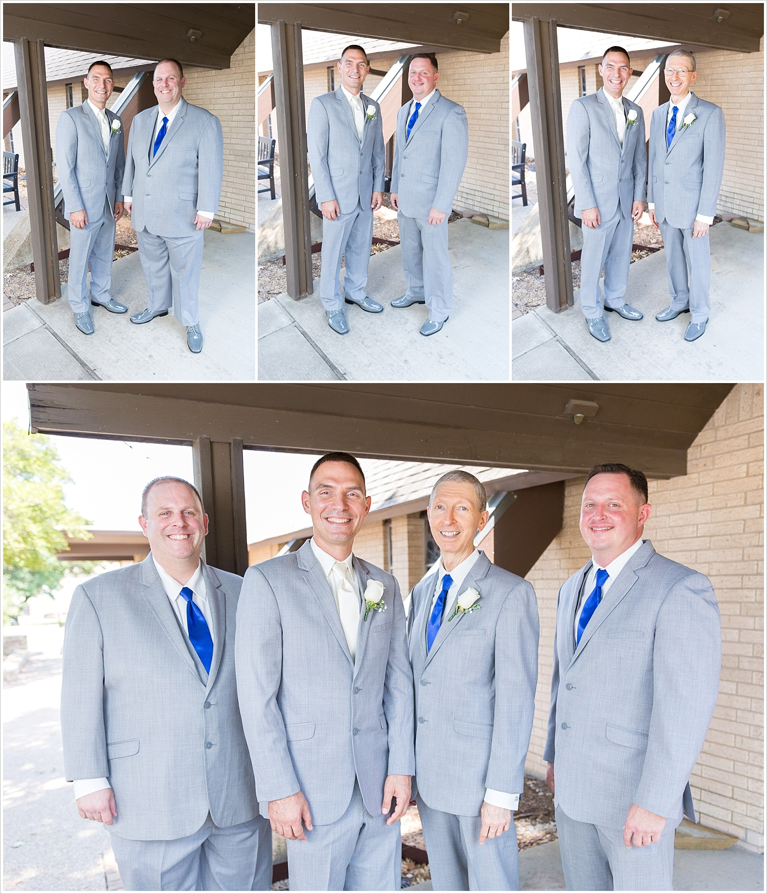 Groom poses with his groomsmen outside Bride and groom in wedding ceremony in front of gorgeous stained glass backdrop at Central Presbyterian Church in Waco/Woodway, TX - Jason & Melaina Photography, www.jasonandmelaina.com