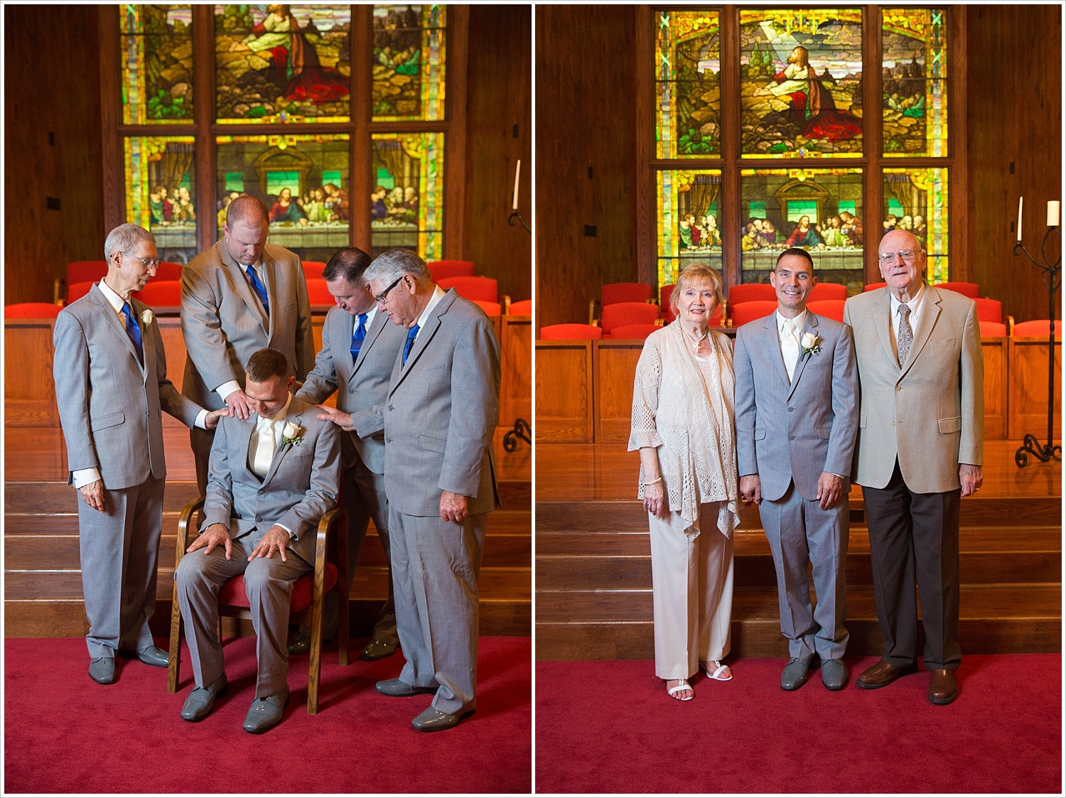 Groomsmen pray over groom in front of gorgeous stained glass backdrop at Central Presbyterian Church in Waco/Woodway, TX - Jason & Melaina Photography, www.jasonandmelaina.com