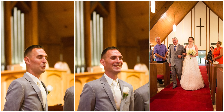 Groom reacts to bride walking down the aisle, summer church wedding in Central Presbyterian Church in Waco/Woodway, TX - Jason & Melaina Photography, www.jasonandmelaina.com