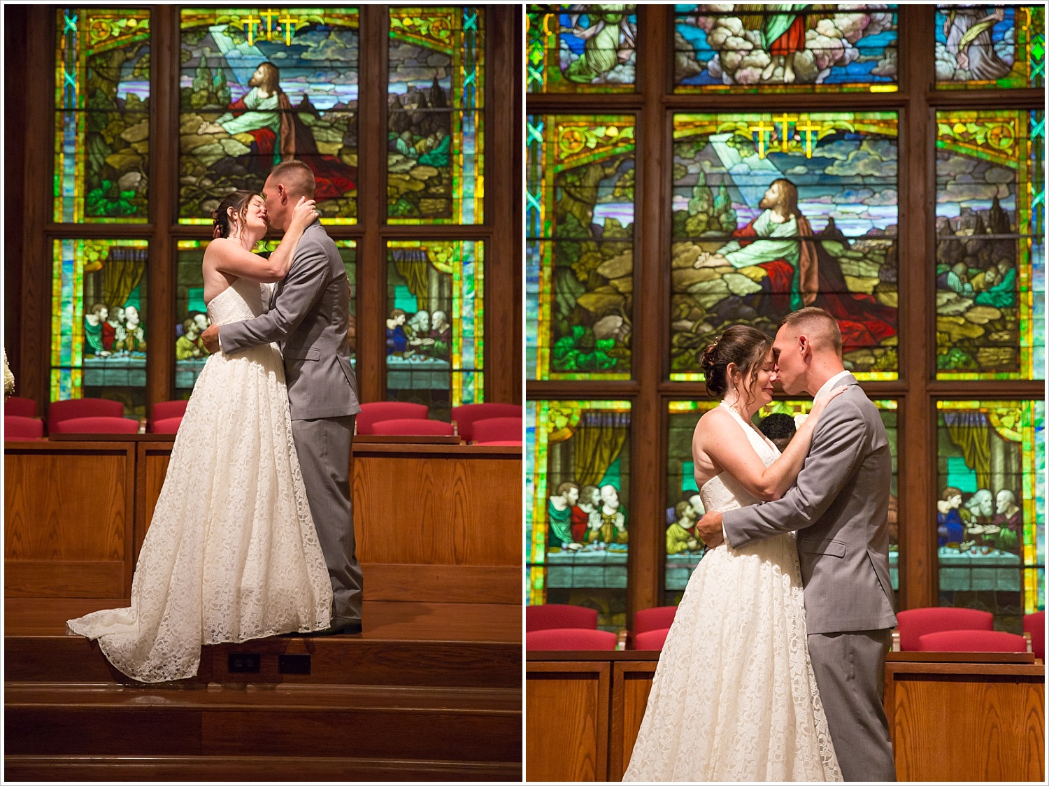 Bride and groom kiss in front of the stained glass in the sanctuary of Central Presbyterian Church in Waco/Woodway, TX - Jason & Melaina Photography, www.jasonandmelaina.com