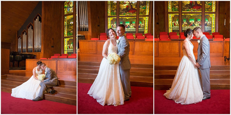 Bride and groom pose in the sanctuary of Central Presbyterian Church in Waco/Woodway, TX - Jason & Melaina Photography, www.jasonandmelaina.com