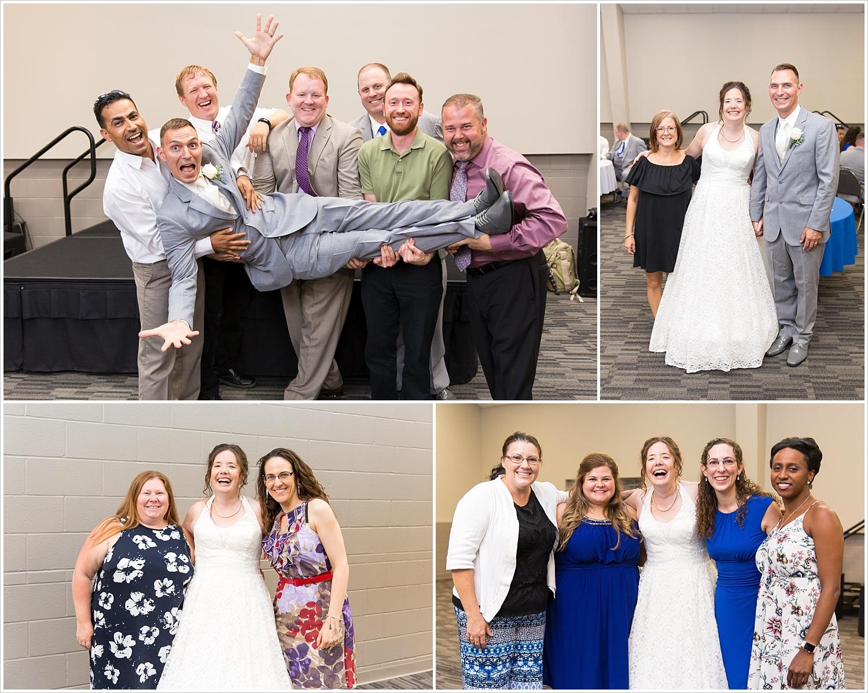 Guests pose during a wedding reception at Central Presbyterian Church in Waco/Woodway, TX - Jason & Melaina Photography, www.jasonandmelaina.com