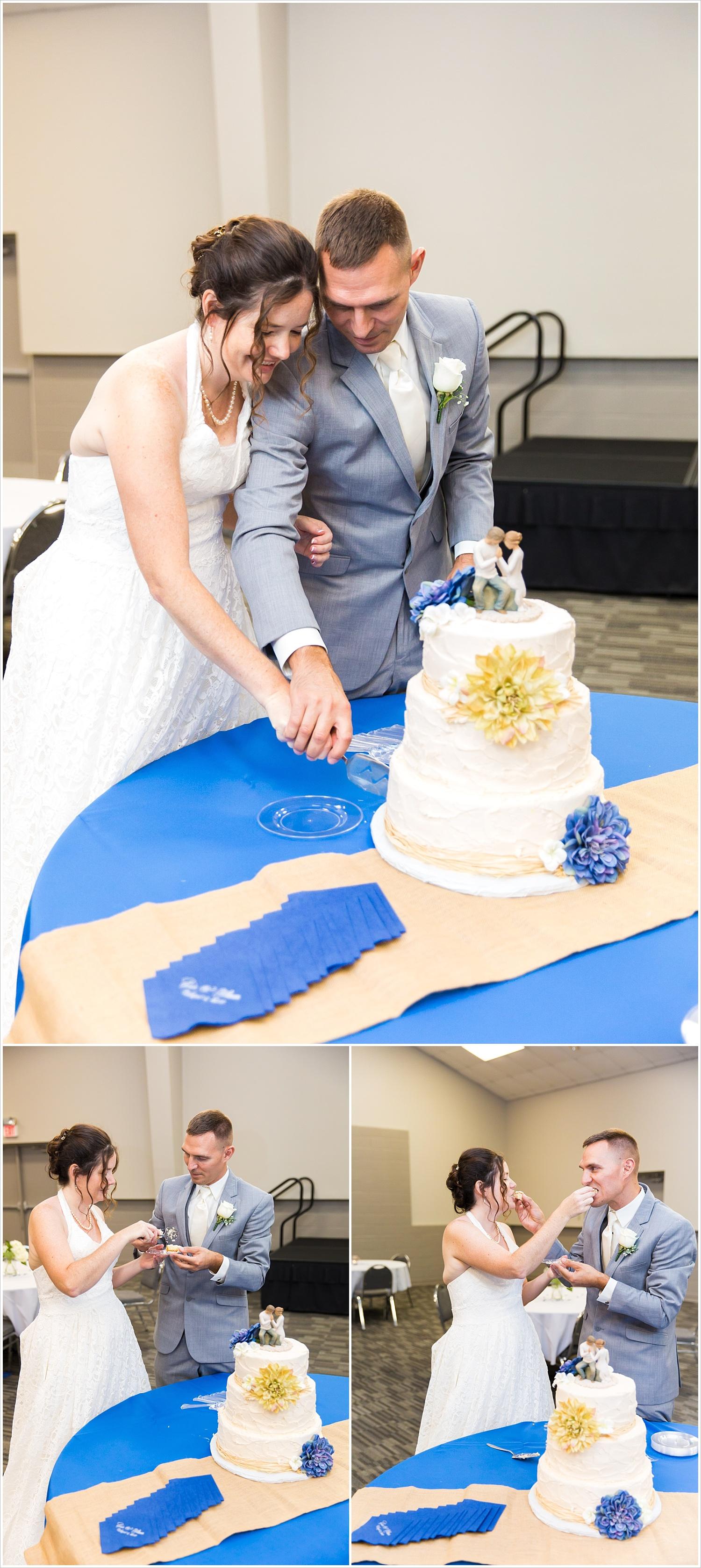 Bride and groom cut their wedding cake during a wedding reception at Central Presbyterian Church in Waco/Woodway, TX - Jason & Melaina Photography, www.jasonandmelaina.com