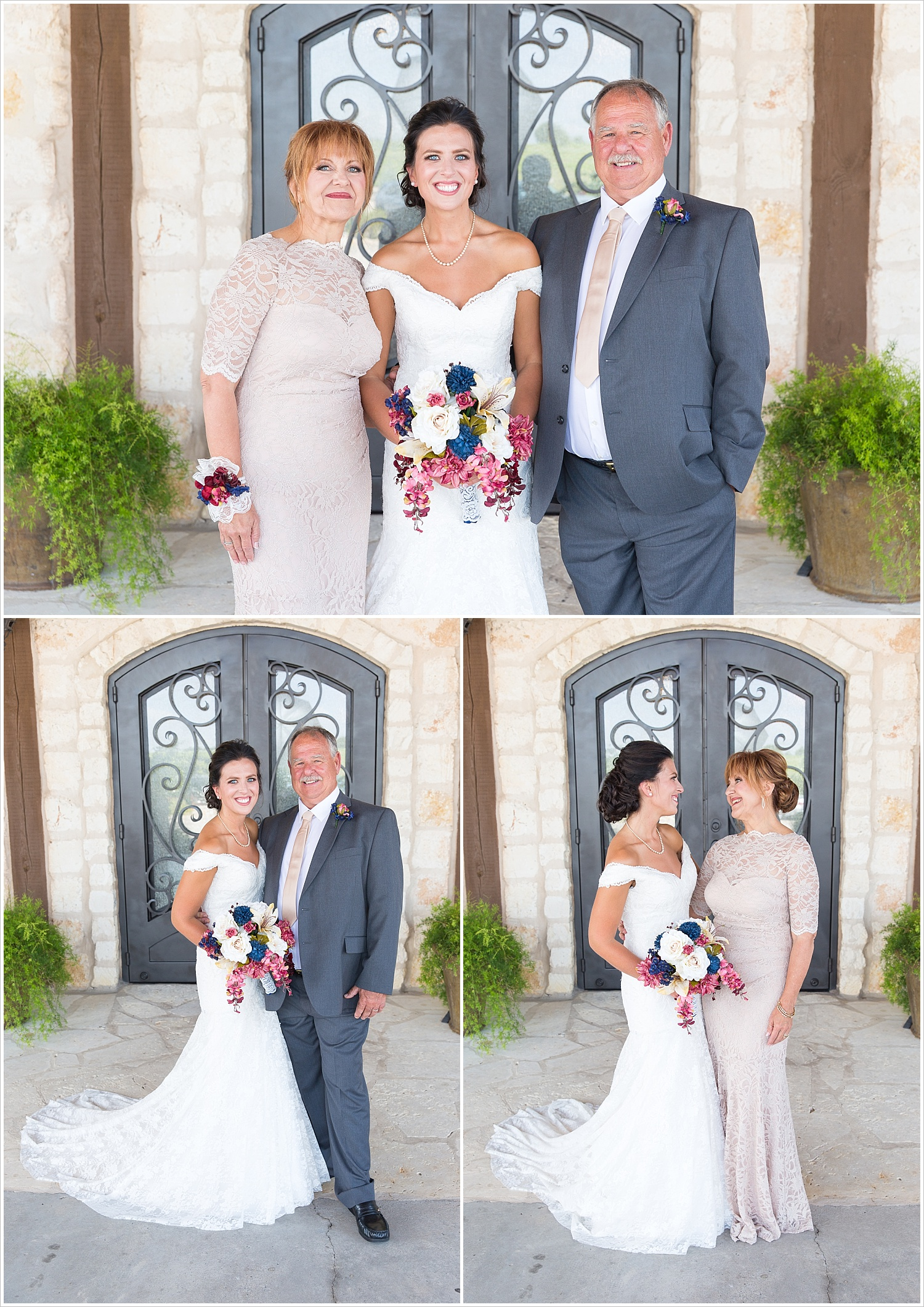 Bride poses with her mother and father, summer blush and navy wedding at Stone Hall at The Springs in McKinney, Texas, Jason & Melaina Photography, www.jasonandmelaina.com