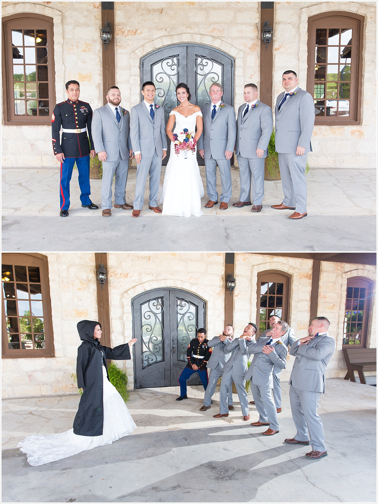 Bride dressed as Darth Vader poses with groomsmen, summer blush and navy wedding at Stone Hall at The Springs in McKinney, Texas, Jason & Melaina Photography, www.jasonandmelaina.com