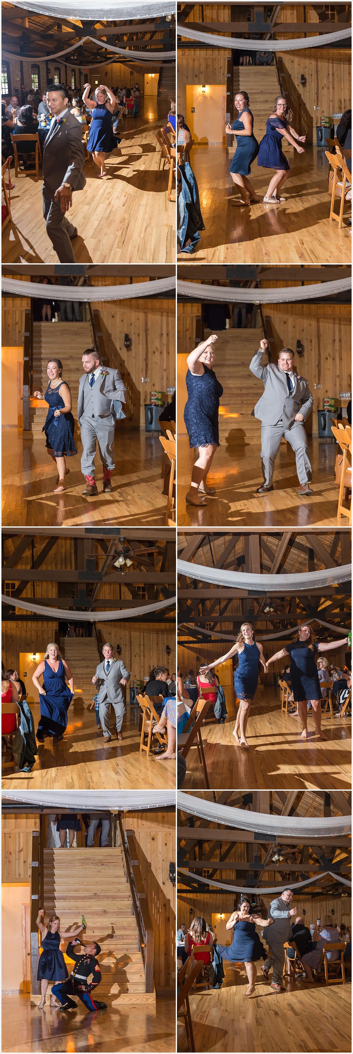 Bridal party grand entrance at reception, summer blush and navy wedding at Stone Hall at The Springs in McKinney, Texas, Jason & Melaina Photography, www.jasonandmelaina.com