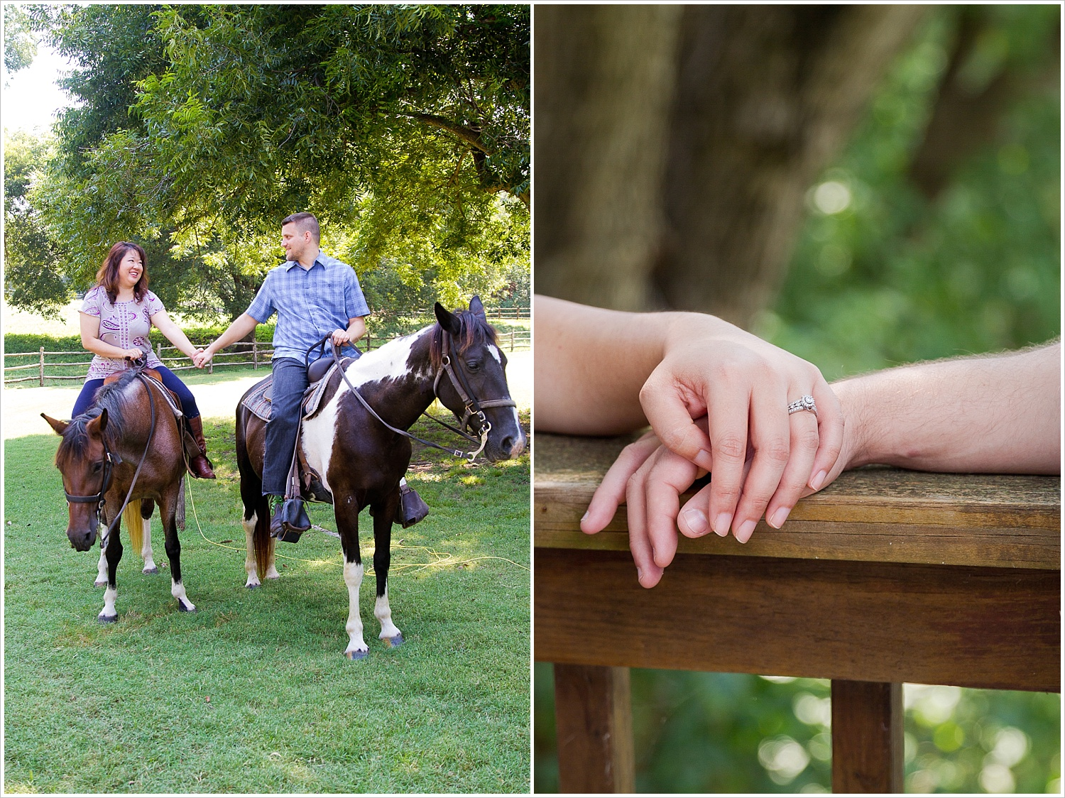 A couple rides horses together during their engagement portraits at Brazos Bluffs Ranch in Waco, Texas - Jason & Melaina Photography, www.jasonandmelaina.com