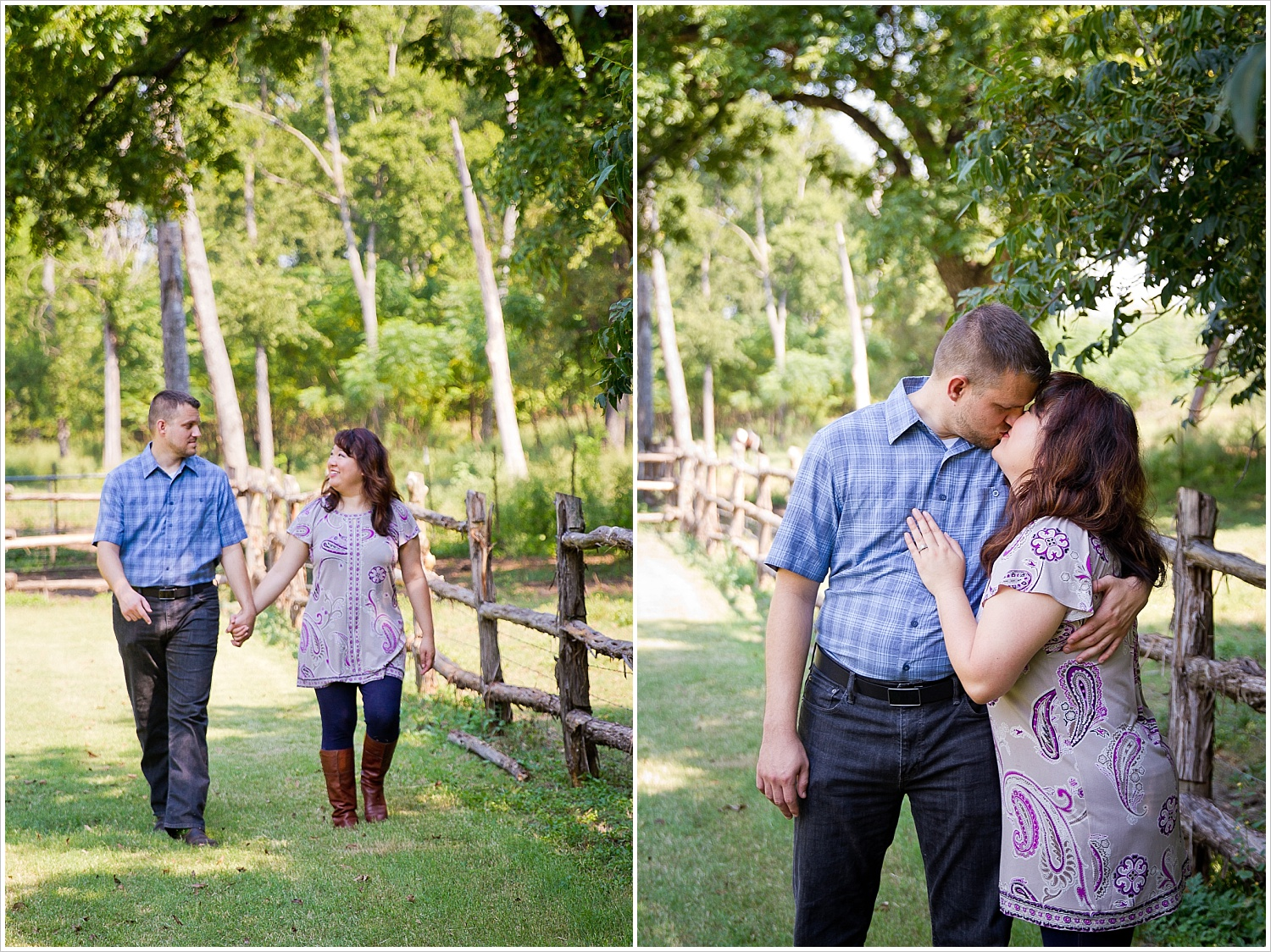 A couple walks hand-in-hand during their engagement portraits at Brazos Bluffs Ranch in Waco, Texas - Jason & Melaina Photography, www.jasonandmelaina.com