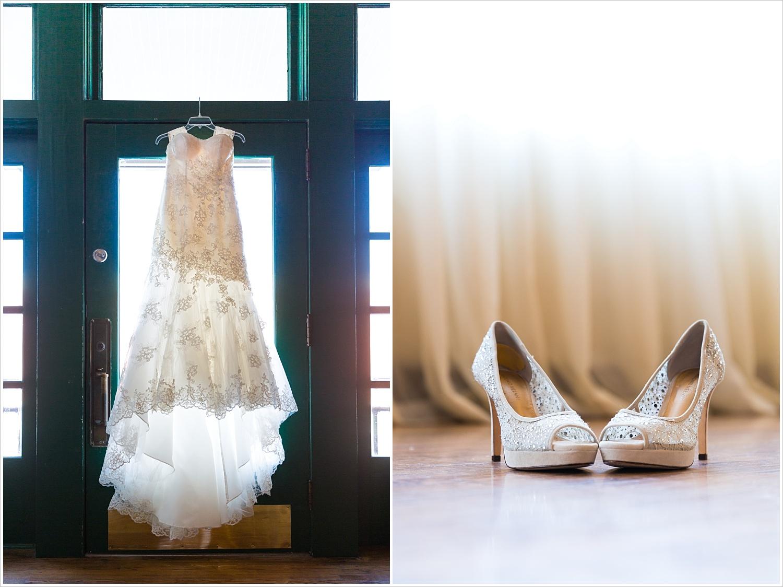 Wedding gown and bride's shoe details, Navy and blush Texas Reception at The Phoenix Ballroom, Jason & Melaina Photography - www.jasonandmelaina.com