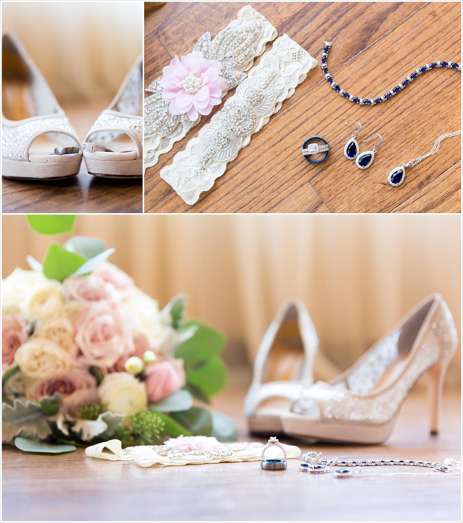 Bridal jewelry and bouquet details, Navy and blush Texas Reception at The Phoenix Ballroom, Jason & Melaina Photography - www.jasonandmelaina.com