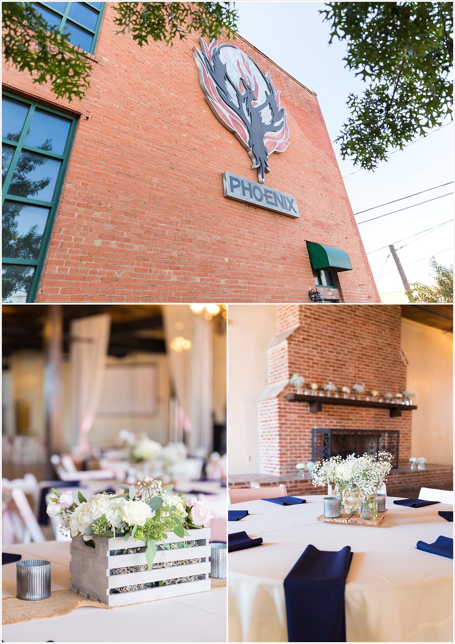 Details from navy and blush Texas Reception at The Phoenix Ballroom, Jason & Melaina Photography - www.jasonandmelaina.com