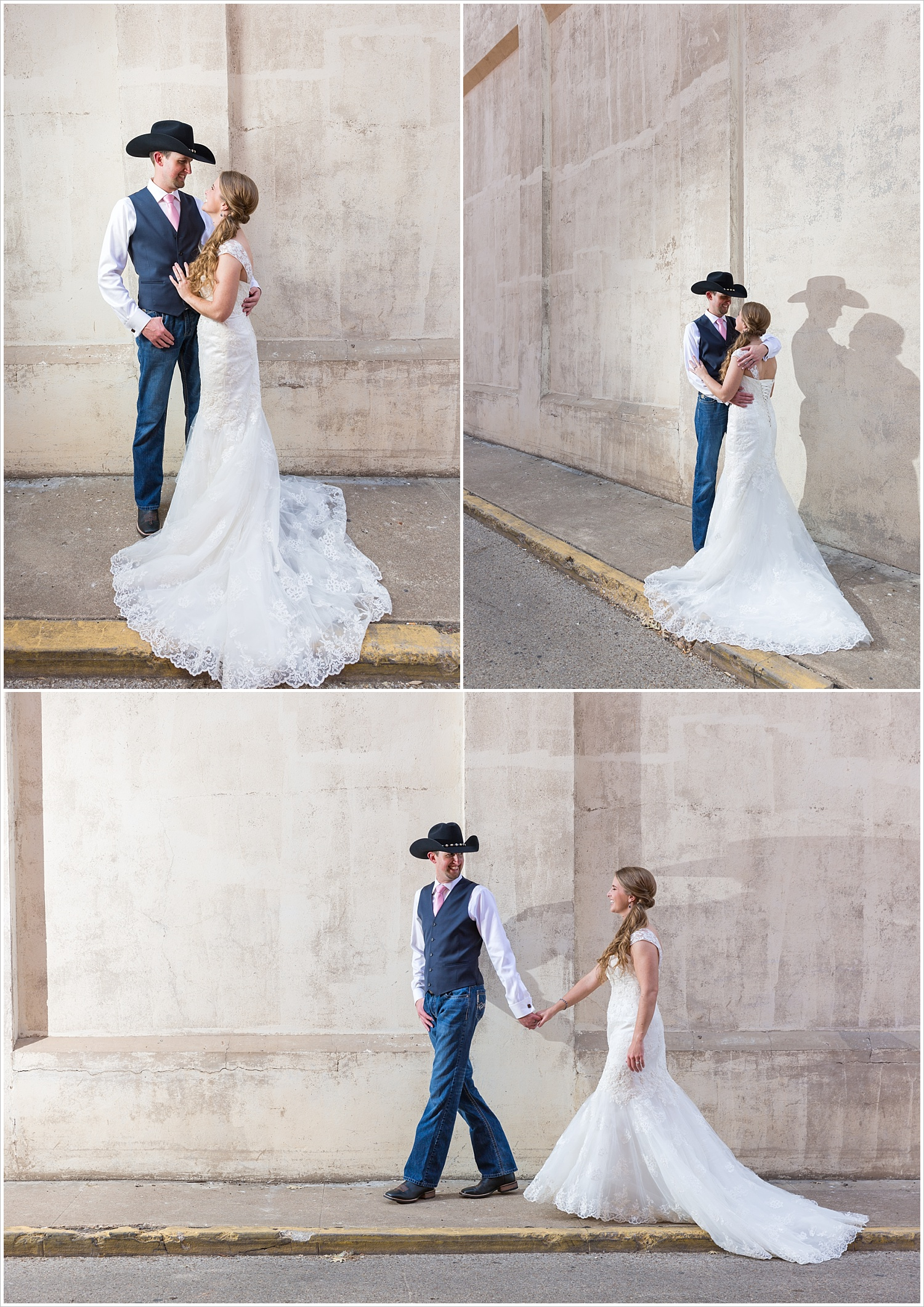 Bride and groom in downtown Waco, Navy and blush Texas Reception at The Phoenix Ballroom, Jason & Melaina Photography - www.jasonandmelaina.com