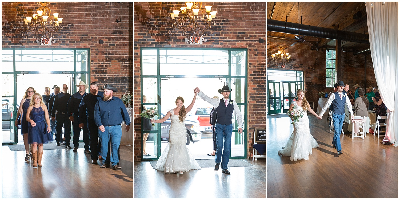 Bride and groom enter reception after announced by DJ, Navy and blush Texas Reception at The Phoenix Ballroom, Jason & Melaina Photography - www.jasonandmelaina.com