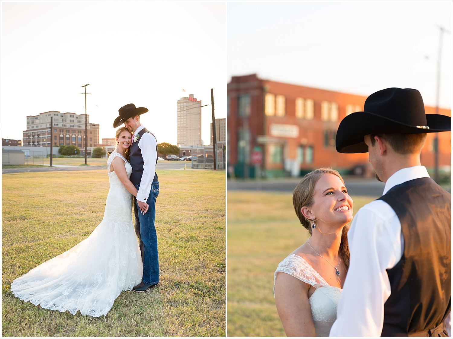 Bride and groom together in sunset with Waco skyline in background, Navy and blush Texas Reception at The Phoenix Ballroom, Jason & Melaina Photography - www.jasonandmelaina.com