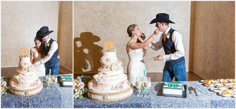 Bride and groom cut cake,Bride and groom in downtown Waco, Navy and blush Texas Reception at The Phoenix Ballroom, Jason & Melaina Photography - www.jasonandmelaina.com
