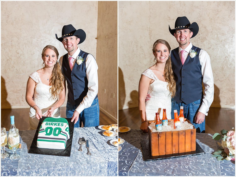 Bride and groom pose by Dallas Stars groom's cake, Navy and blush Texas Reception at The Phoenix Ballroom, Jason & Melaina Photography - www.jasonandmelaina.com
