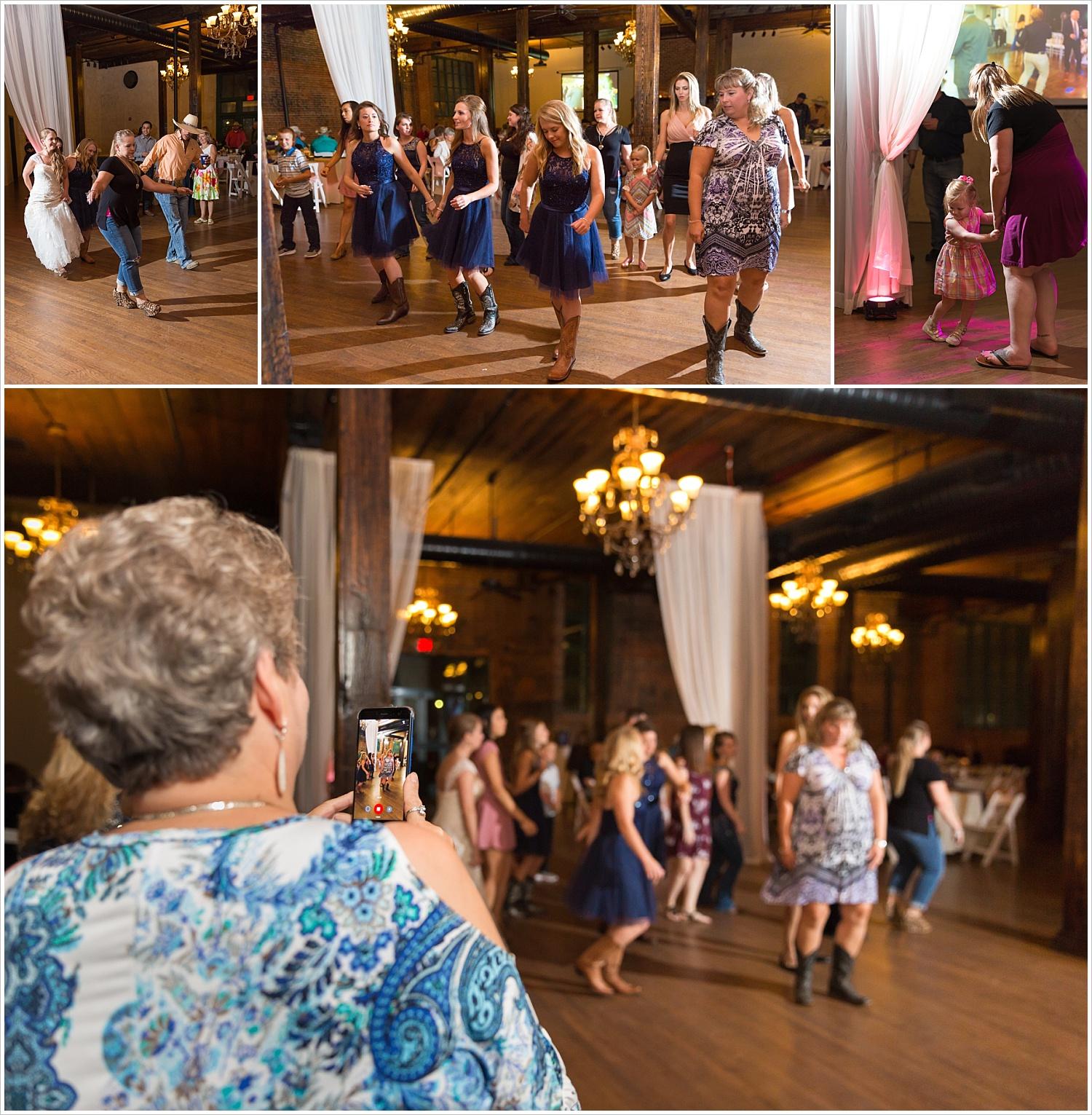 Bride and bridal party dance at reception,Navy and blush Texas Reception at The Phoenix Ballroom, Jason & Melaina Photography - www.jasonandmelaina.com