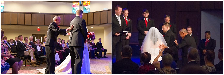 Father gives away the bride,Traditional Church wedding, Highland Baptist Church in Waco, Texas - Jason & Melaina Photography, www.jasonandmelaina.com