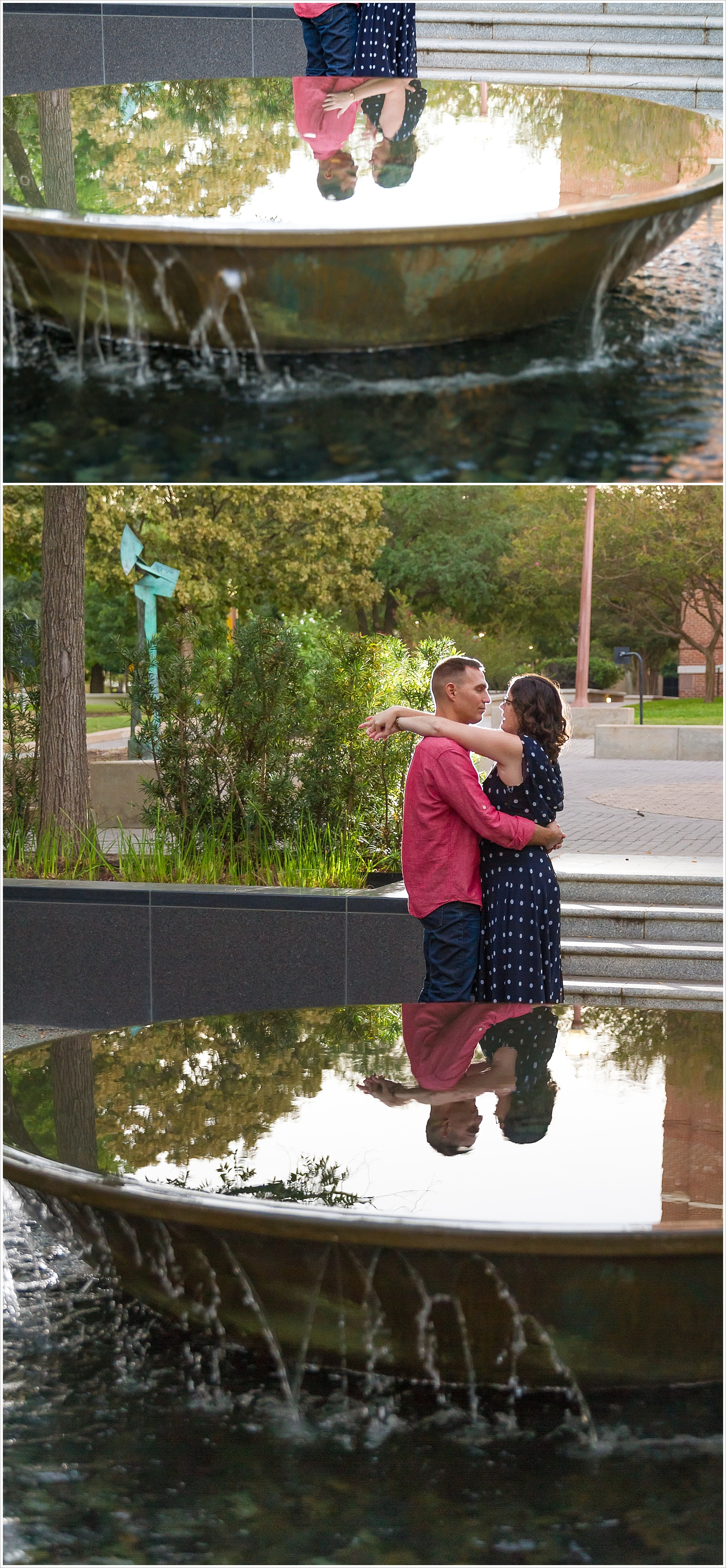 Couple embraces and their reflection is mirrored back in a fountain at Baylor University - Photography by Jason & Melaina Photography - www.jasonandmelaina.com