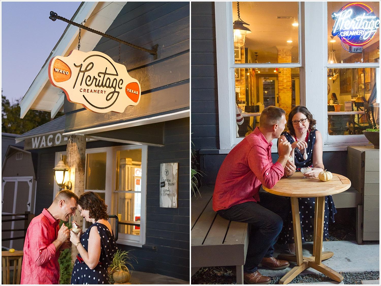 Couple enjoys ice cream outside Heritage Creamery during their engagement portraits in Waco, Texas - Jason & Melaina Photography, www.jasonandmelaina.com