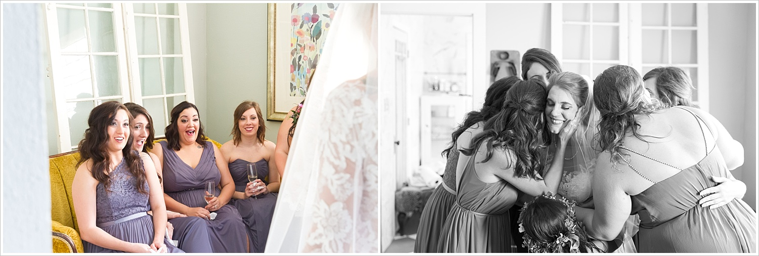 Bridesmaids react to seeing bride in her gown for first time, hug bride, at wedding ceremony at Bear Creek in Gatesville, Texas - Jason & Melaina Photography - www.jasonandmelaina.com