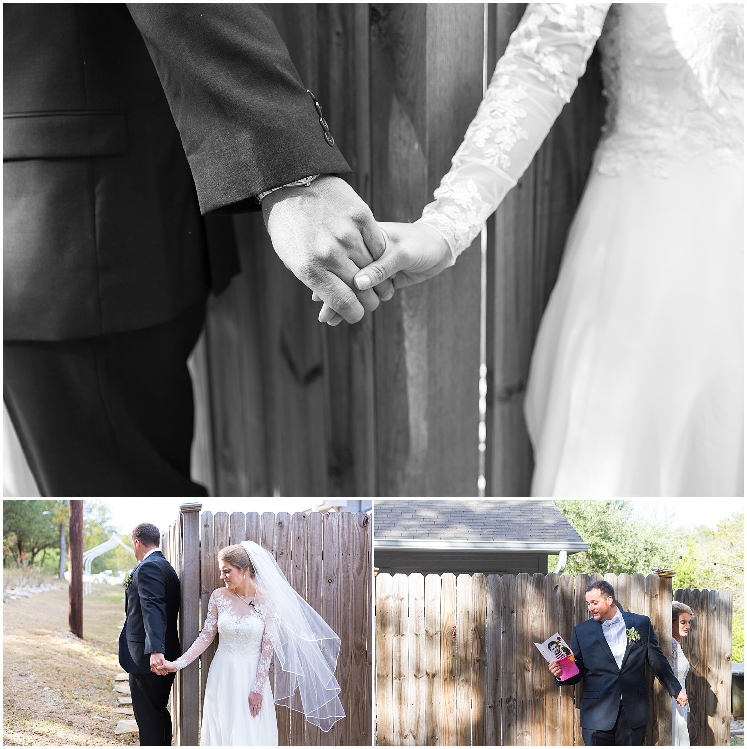 A bride and groom hold hands during their first touch on their wedding day, Bear Creek in Gatesville, TX - Jason & Melaina Photography - www.jasonandmelaina.com