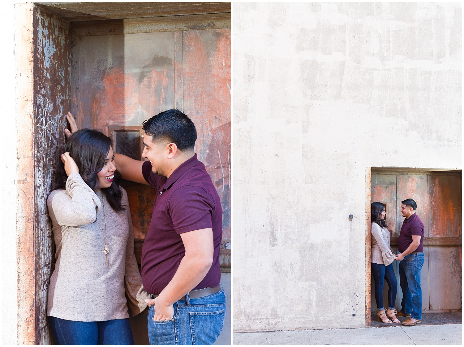 A future bride and groom smile at one another in a doorway downtown on 7th street during their Waco, Texas engagement photo session - Jason & Melaina Photography - www.jasonandmelaina.com