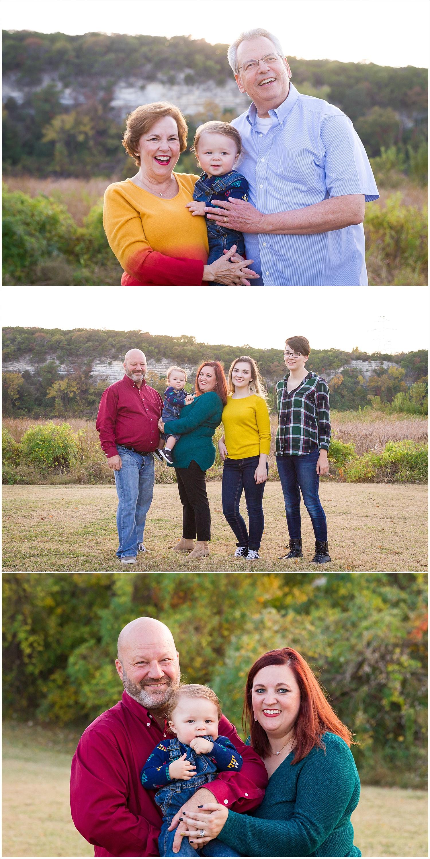 3 generations of a family pose together in the fall colors of Waco, Texas - Jason & Melaina Photography - www.jasonandmelaina.com