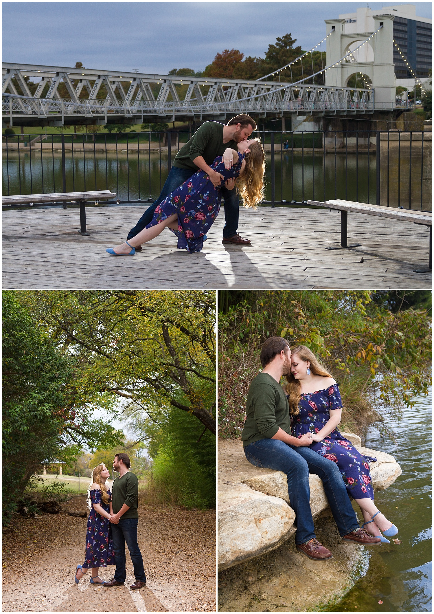 A man dips his fiance for a kiss with the Waco Suspension Bridge behind them during their engagement photo session in Waco, Tx - Jason & Melaina Photography - www.jasonandmelaina.com