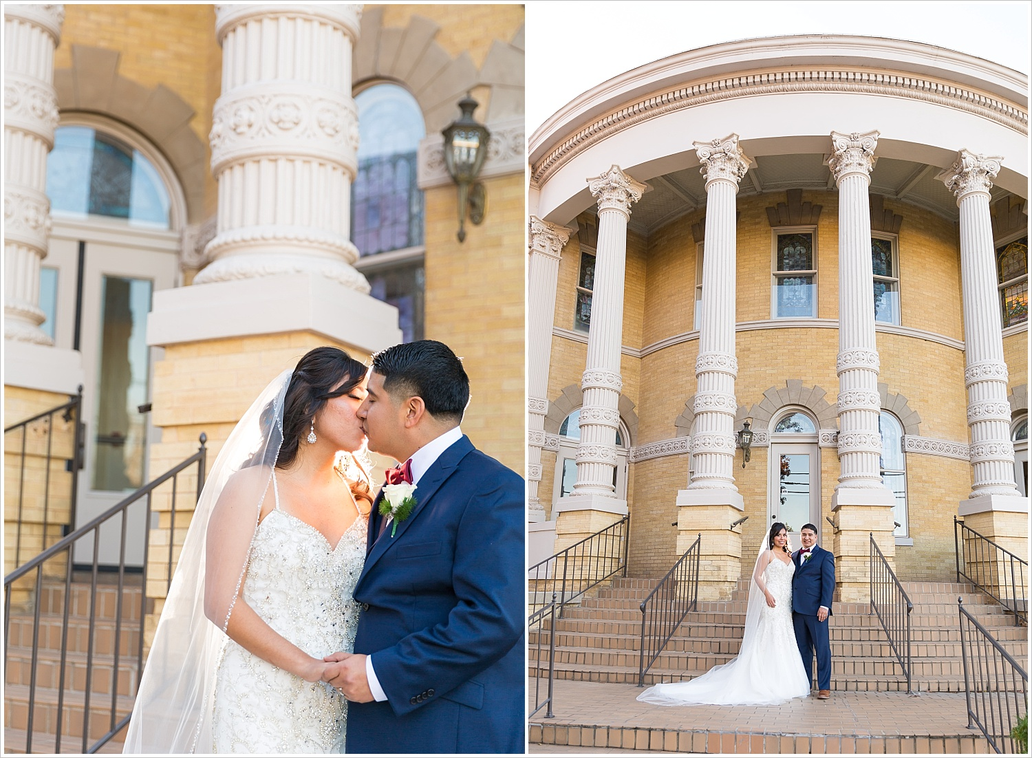A bride and groom kiss in front of the historic First Baptist Church in downtown Waco- Jason & Melaina Photography - www.jasonandmelaina.com