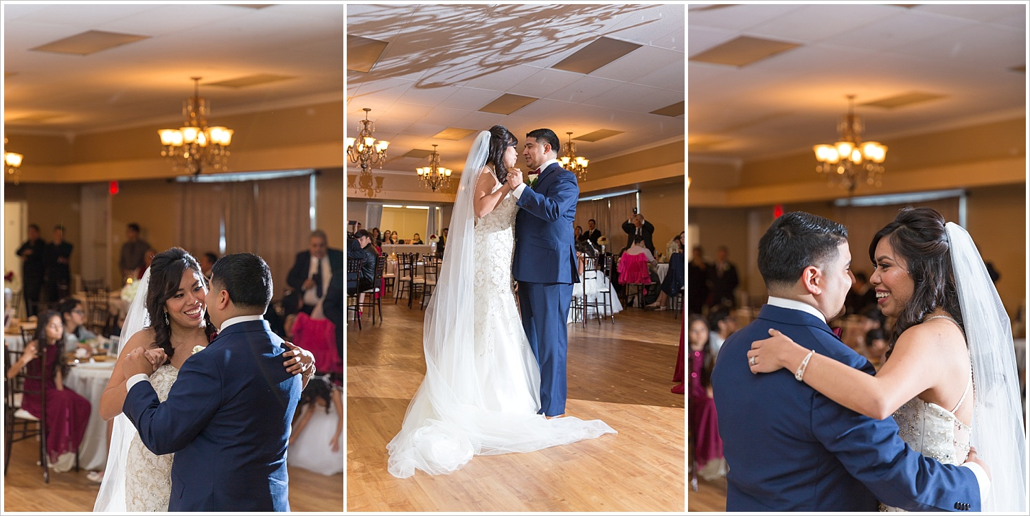 A bride and groom dance together during their wedding reception at Castle Heights Bijoux Events Center in Waco, Texas - Jason & Melaina Photography - www.jasonandmelaina.com