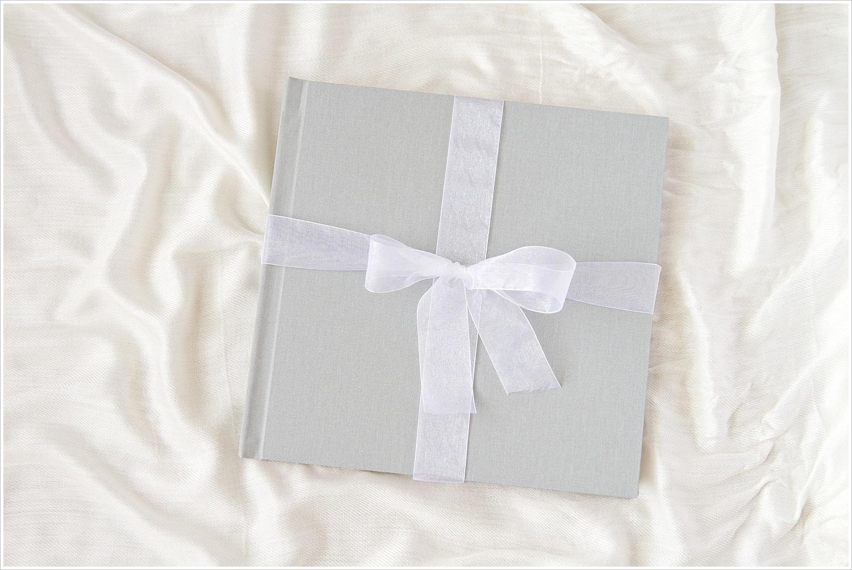 Heirloom linen wedding album with slate gray cover