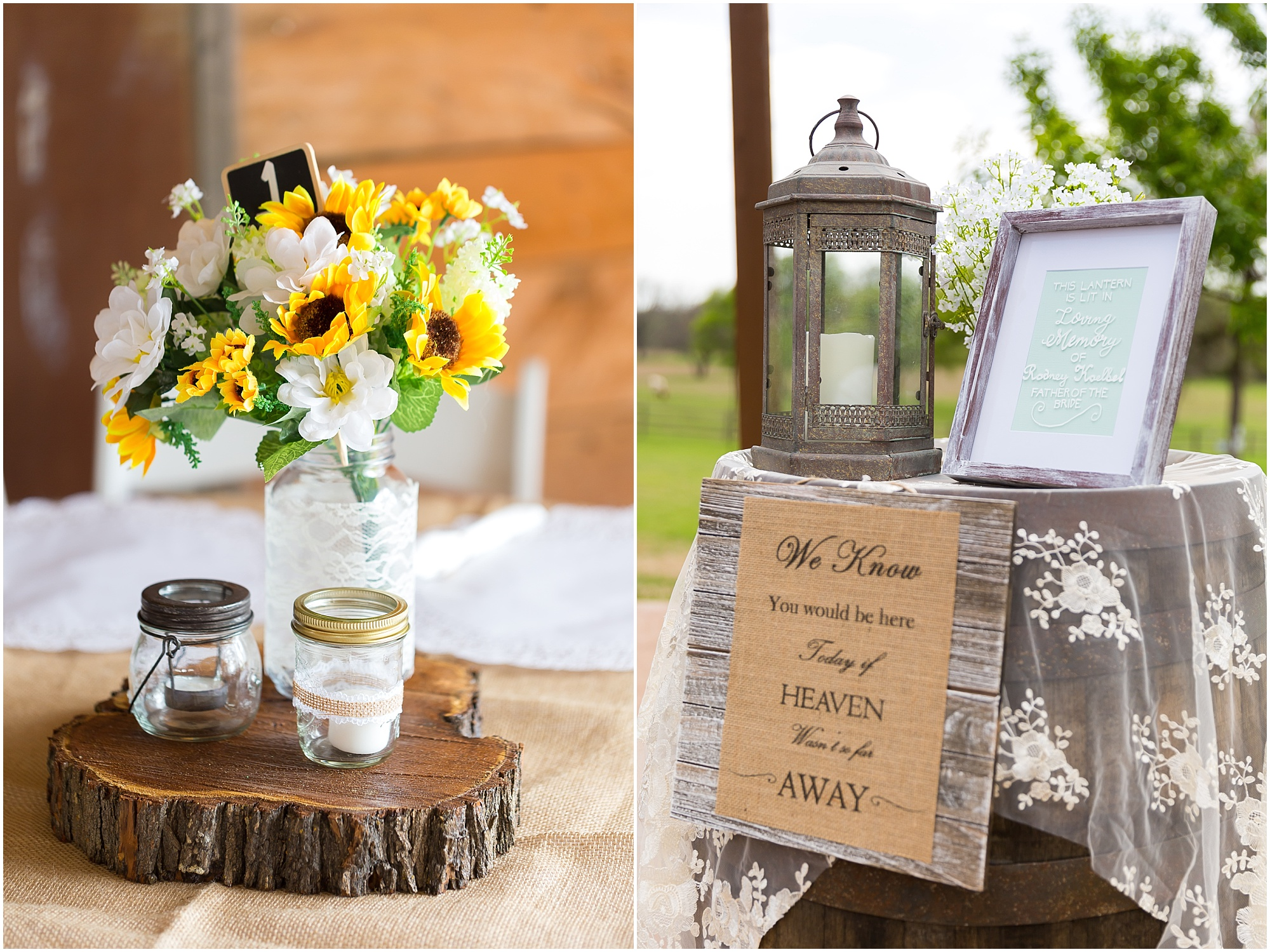Sunflowers and baby's breath centerpieces at rustic wedding at Peacock River Ranch - Jason & Melaina Photography - www.jasonandmelaina.com