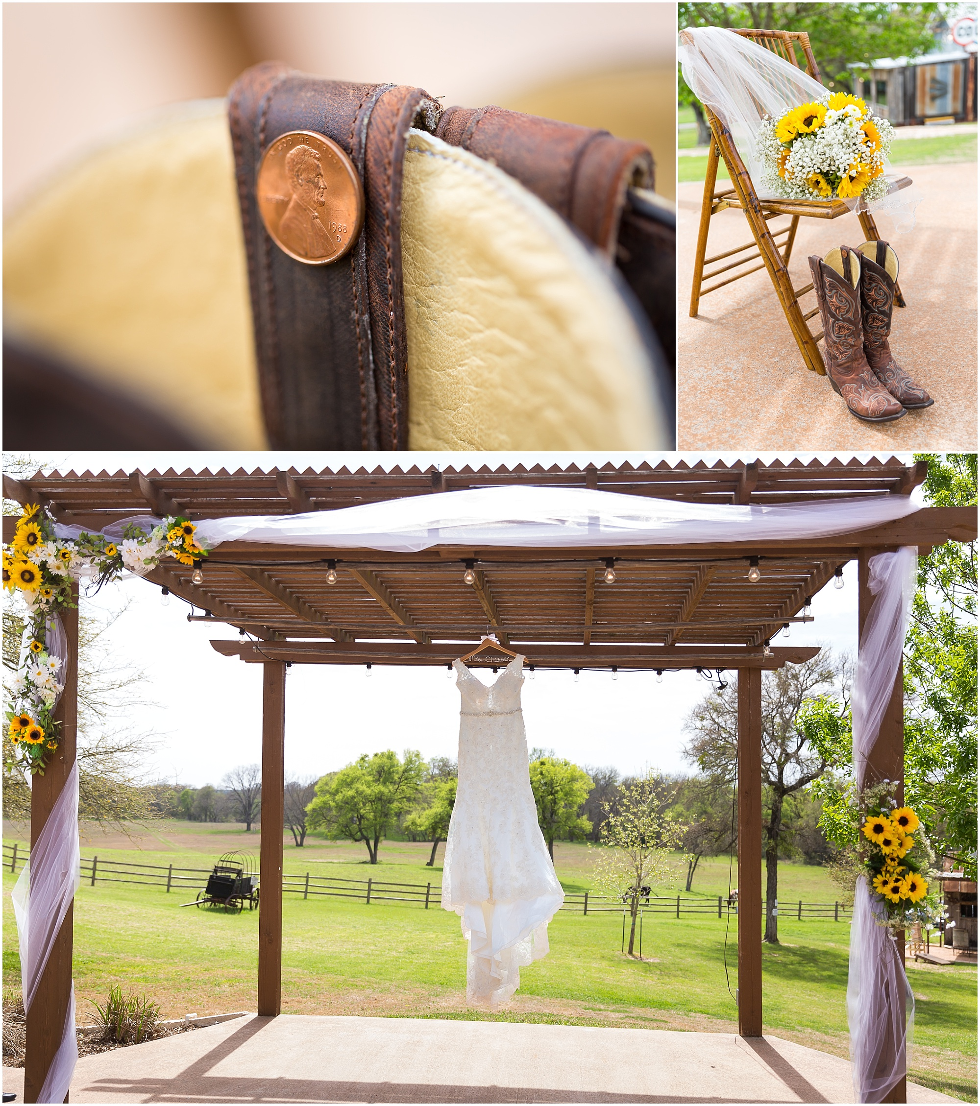 Bride glued a penny in her boot on her wedding day - rustic wedding at Peacock River Ranch - Jason & Melaina Photography - www.jasonandmelaina.com