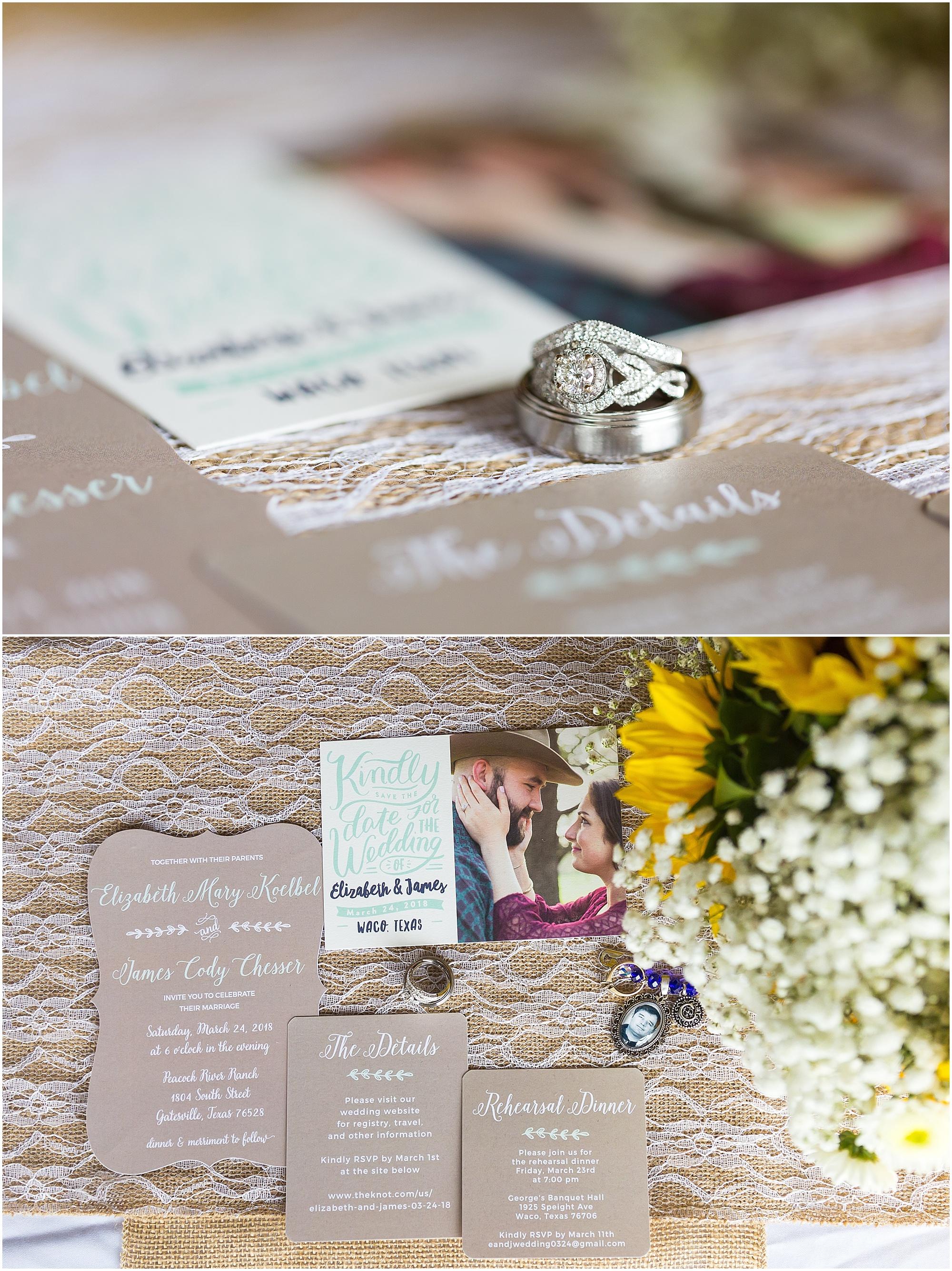 Wedding ring and invitation details at a rustic wedding at Peacock River Ranch - Jason & Melaina Photography - www.jasonandmelaina.com