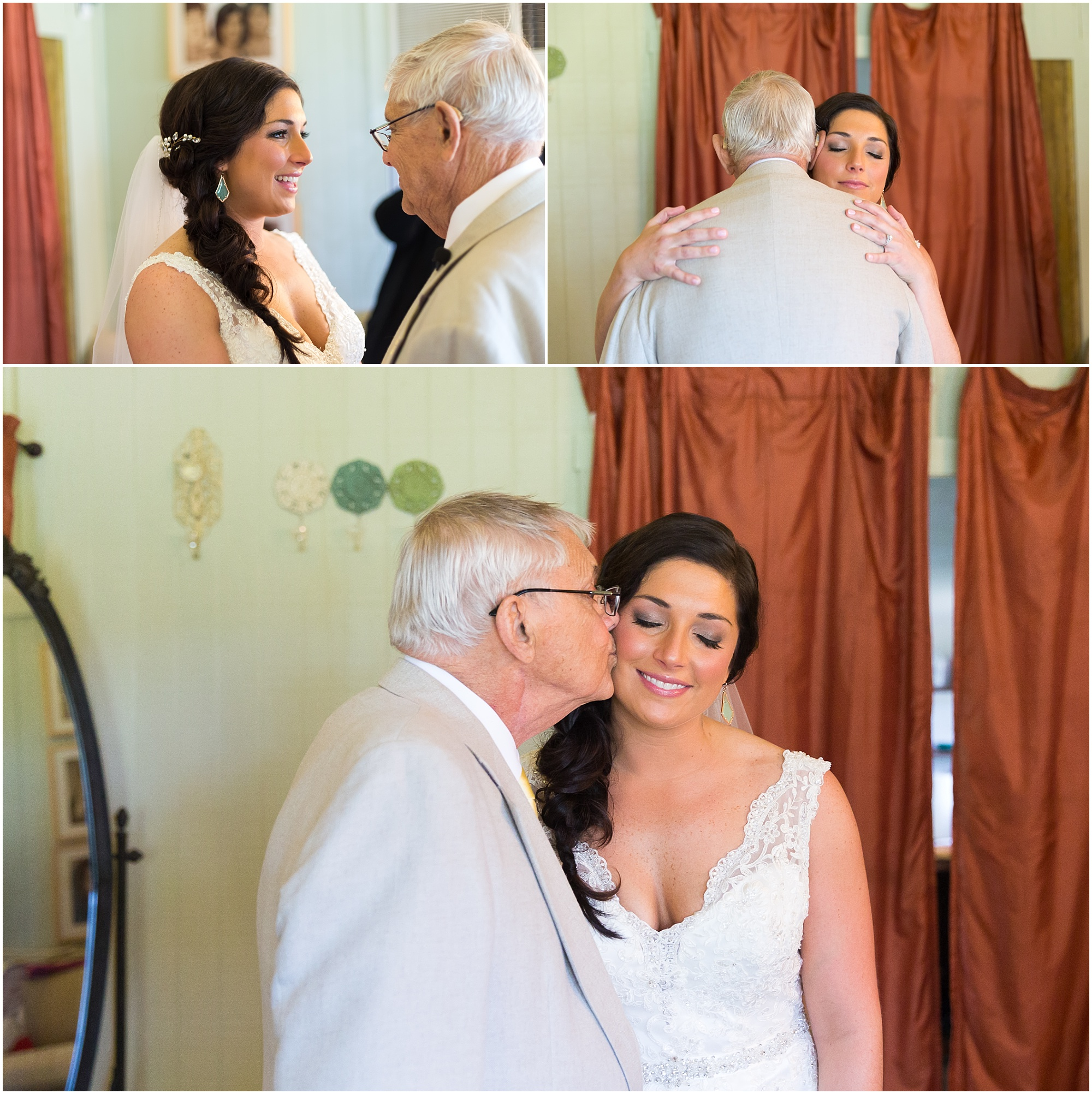 Father of the bride kisses her cheek at their first look - Jason & Melaina Photography - www.jasonandmelaina.com