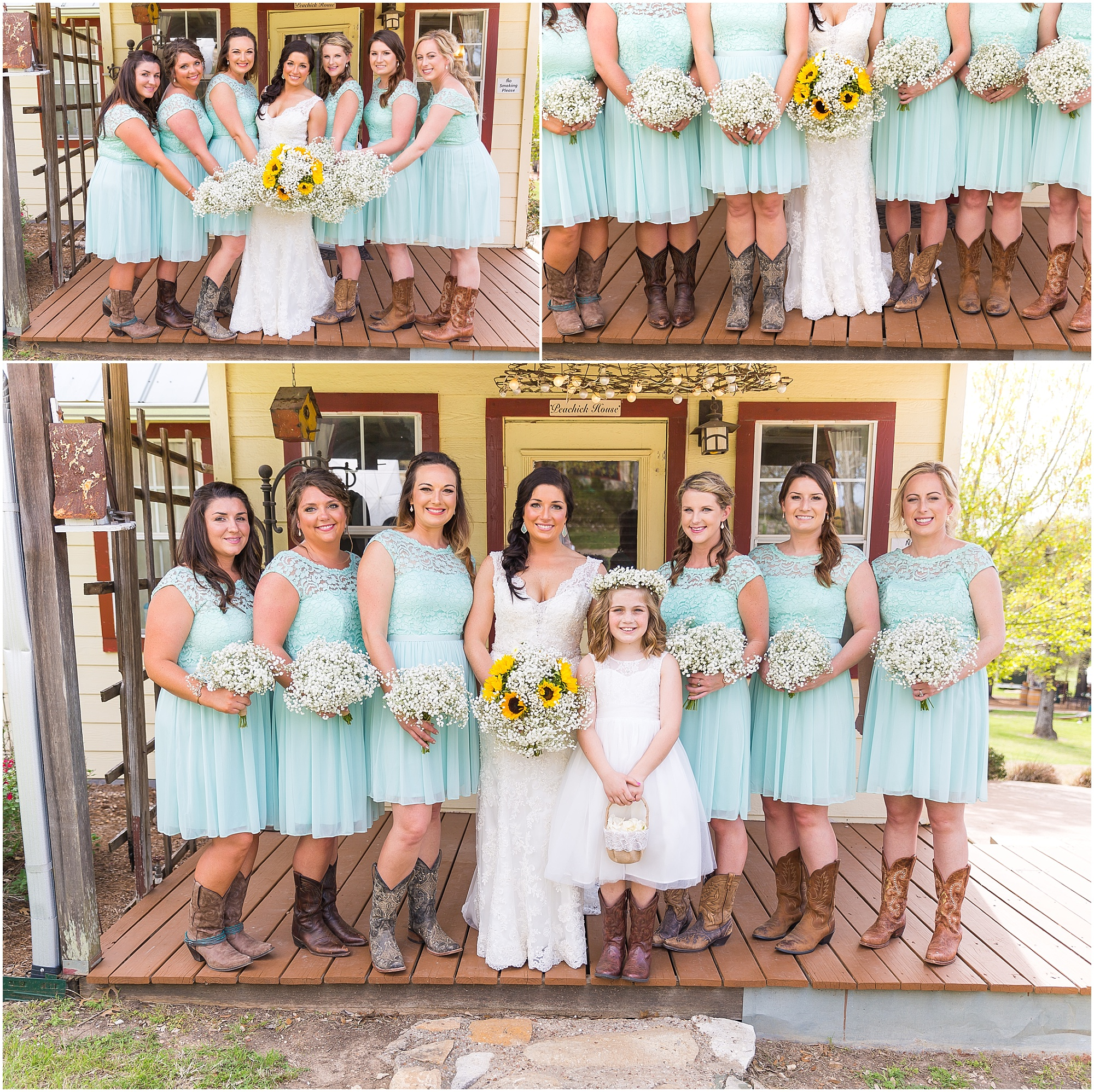 Bridesmaids in turquoise lace dresses and cowboy boots -Rustic wedding at Peacock River Ranch - Jason & Melaina Photography - www.jasonandmelaina.com