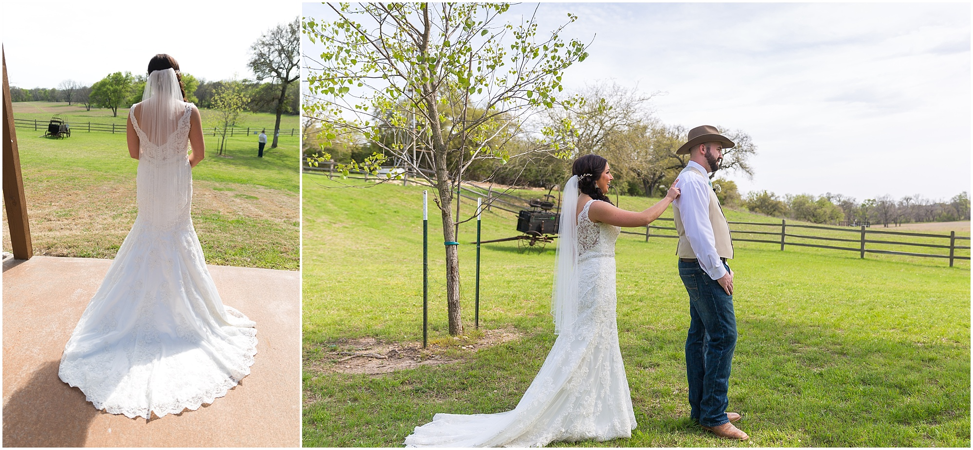 Bride walks up to groom during their first look