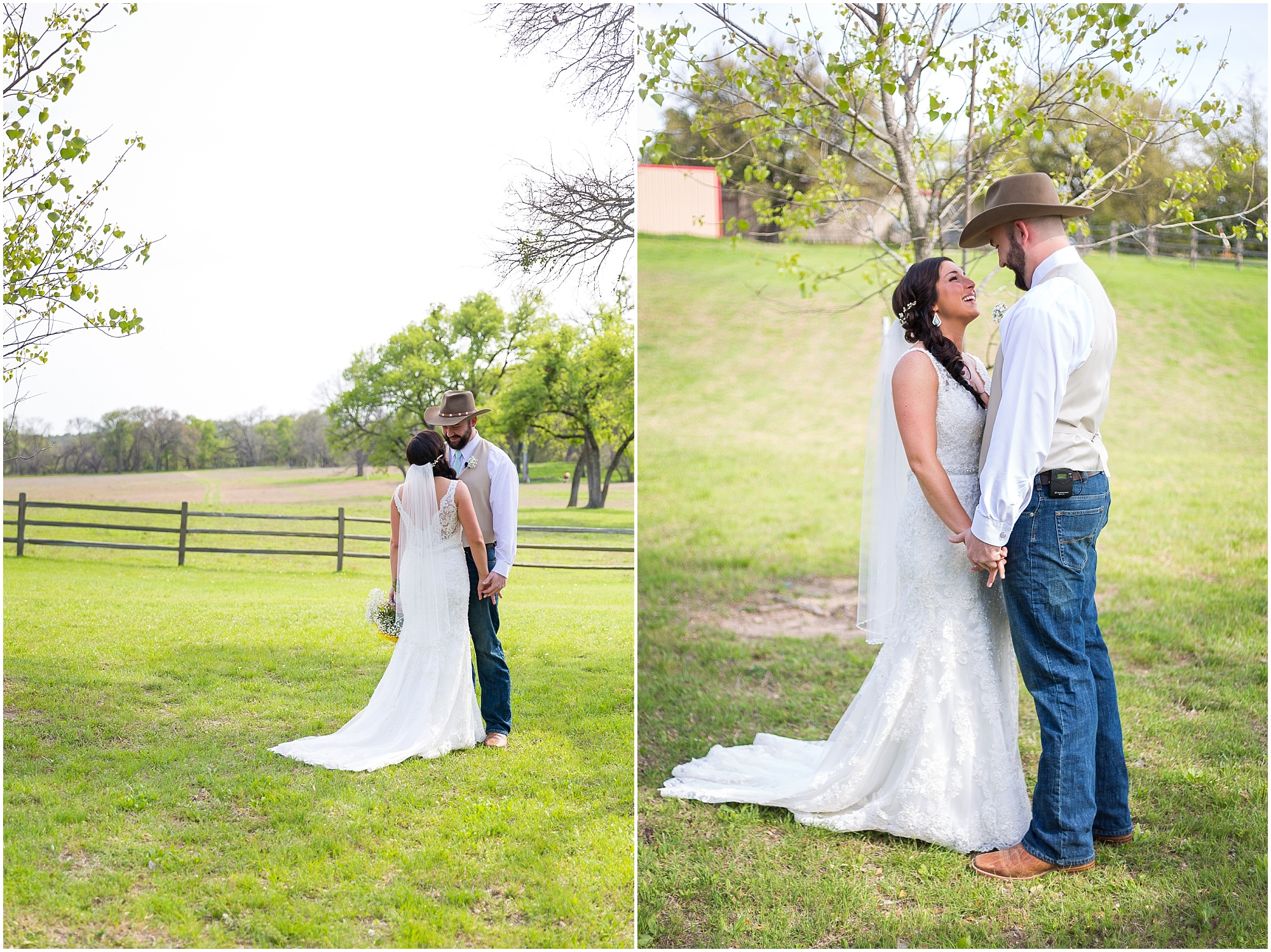 Bride and groom embrace in a green pasture at Peacock River Ranch - Jason & Melaina Photography