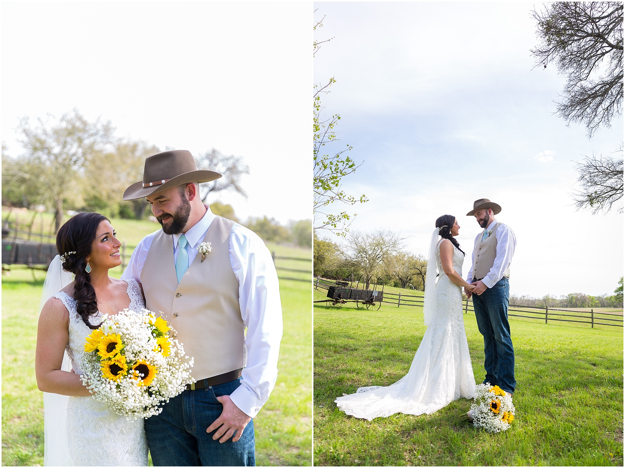 Bride in a lace wedding dress holds her groom in his cowboy hat - Jason & Melaina Photography