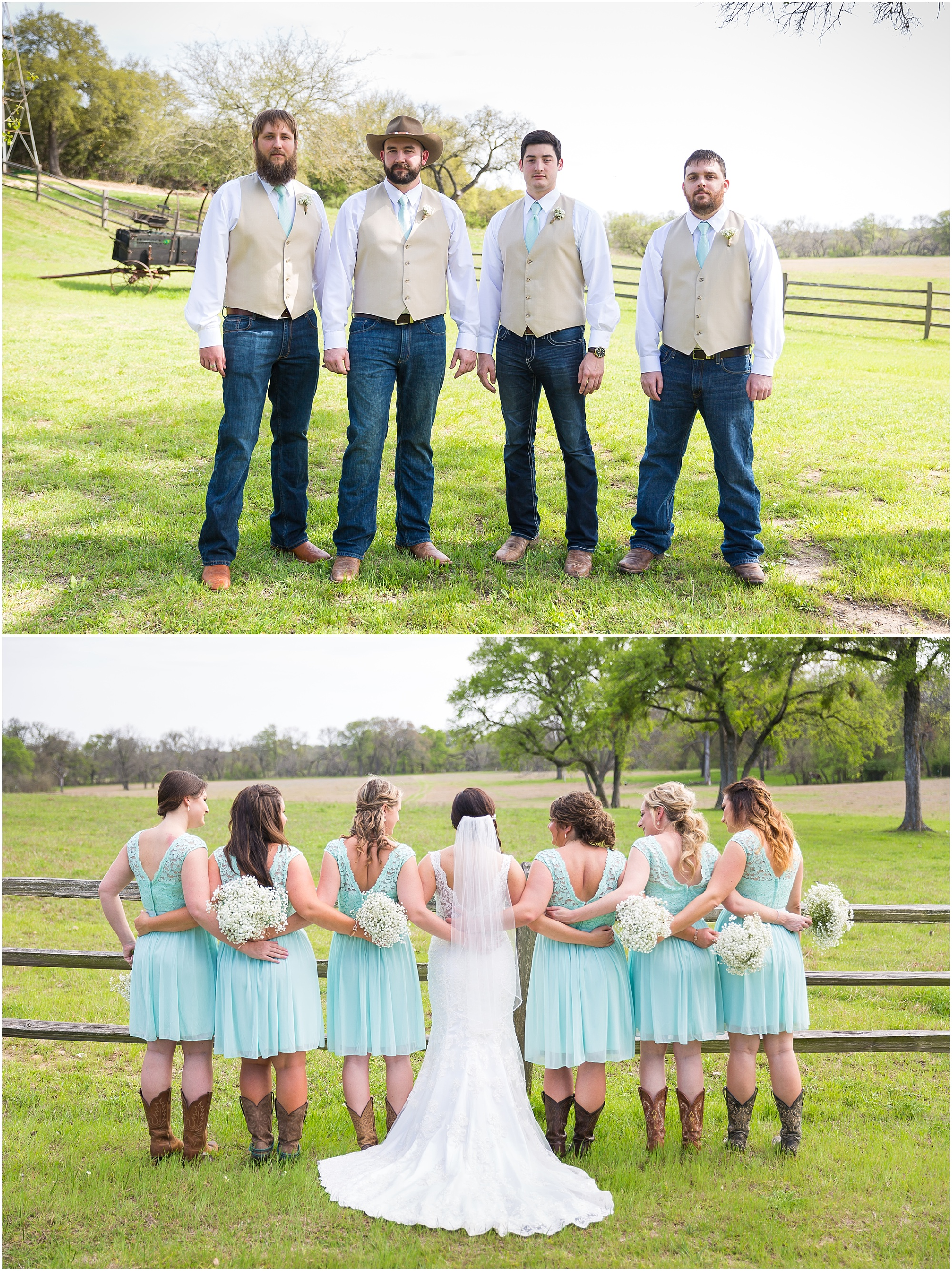 Groomsmen in jeans and tan vests and bridesmaids in turquoise dresses and boots - Rustic wedding at Peacock River Ranch - Jason & Melaina Photography - www.jasonandmelaina.com