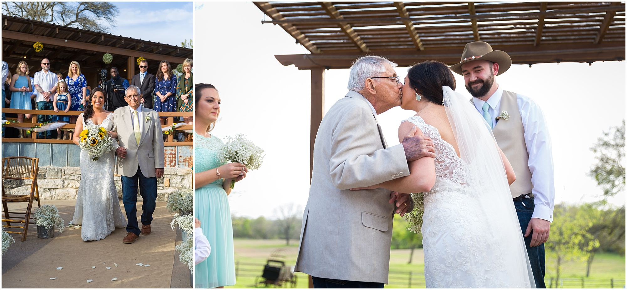Dad walks his daughter down the aisle at Peacock River Ranch in Gatesville, Texas - Jason & Melaina Photography