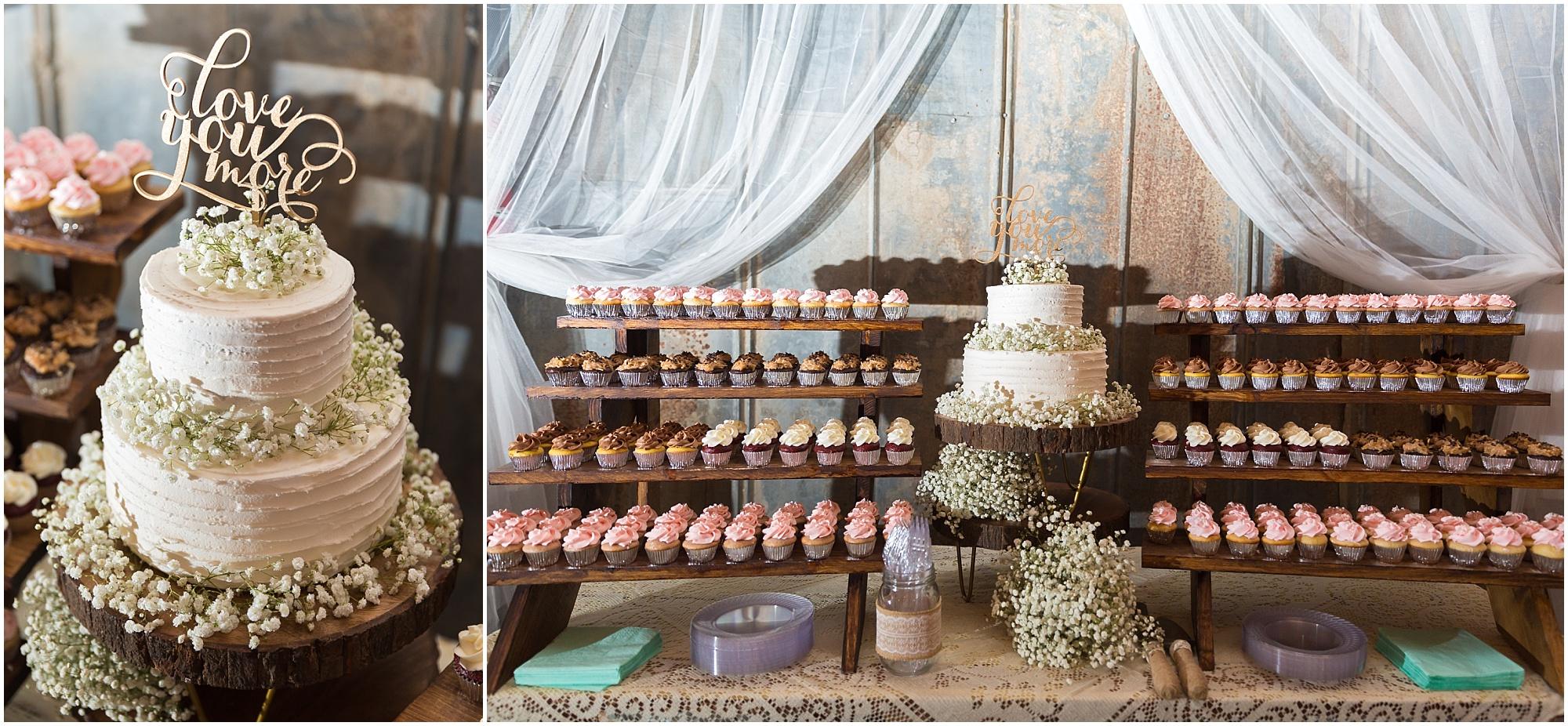 Cake and cupcake display at wedding reception - Jason & Melaina Photography